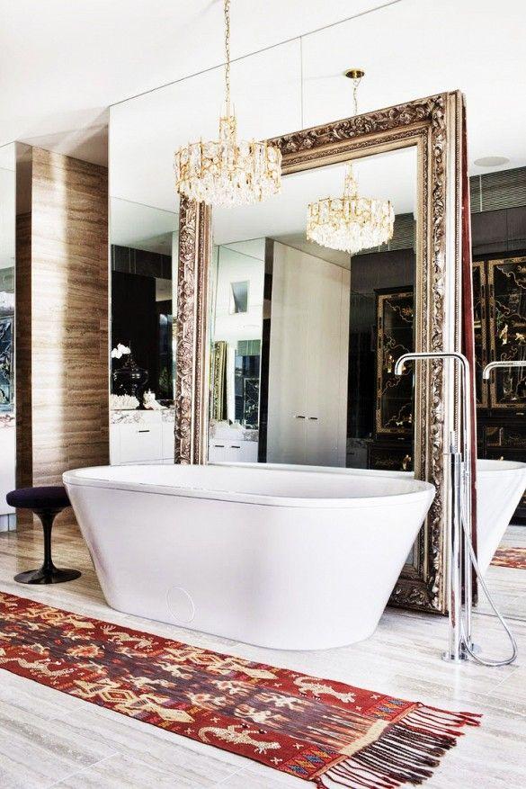 Large mirror in a bathroom
