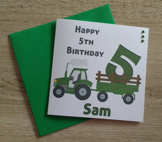 Personalised Age Tractor Birthday Childrens Cards  5.5in card printed onto quality smooth white card trimmed with green pearl gems  Insert words  My Birthday wish, this year for you Is for your best year yet A year where wants are very few, But what you want, you get. Have a wondrous birthday and year  Personalised with name and age,