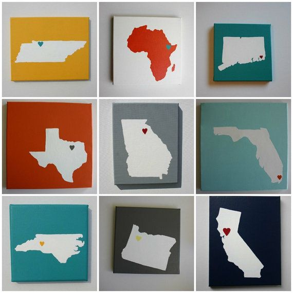 Sweet state love: Canvas Paintings, States Canvas, Cute Ideas, Diy States Art, Art And Crafts States, U.S. States, Country Affordable, Maps Places Living Love, Art Country Maps