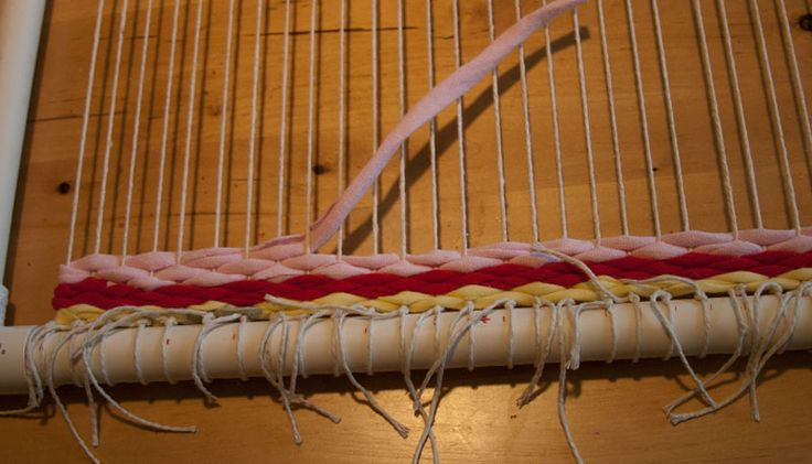 Make your own weaving loom to make rag rugs out of PVC