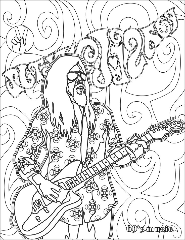 coloriage musique année 60 hippie. Imprimer image noir&blanc, coloriez ce dessin anti stress et relaxez. Free adult colouring page!!