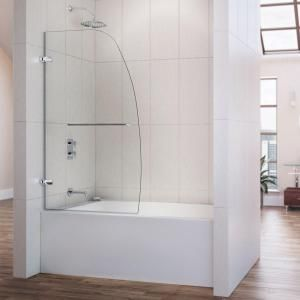 DreamLine, Aqua Uno 34 in. x 58 in. Frameless Pivot Tub/Shower Door in Brushed Nickel, SHDR-3534586-04 at The Home Depot - Mobile