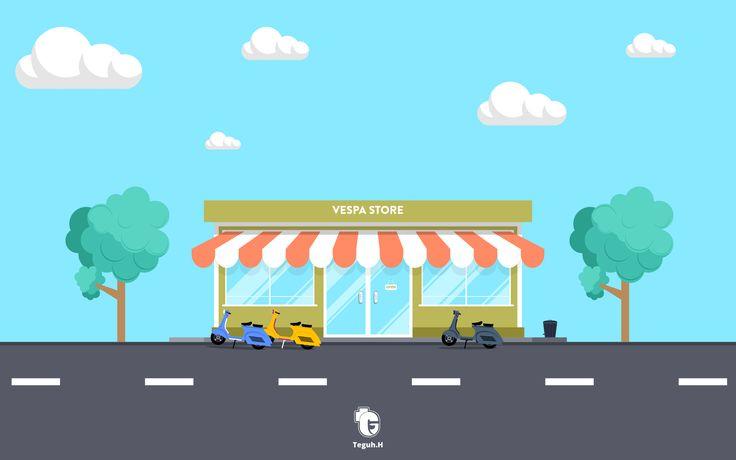 vespa store   flat design  #Vespa #flatdesign #vector #store #conceptart #building     twitter : https://twitter.com/tguh_hardiyanto    instagram : https://www.instagram.com/tguh_h    behance : https://www.behance.net/teguhhardiyanto   facebook : https://www.facebook.com/photoartmanipulation