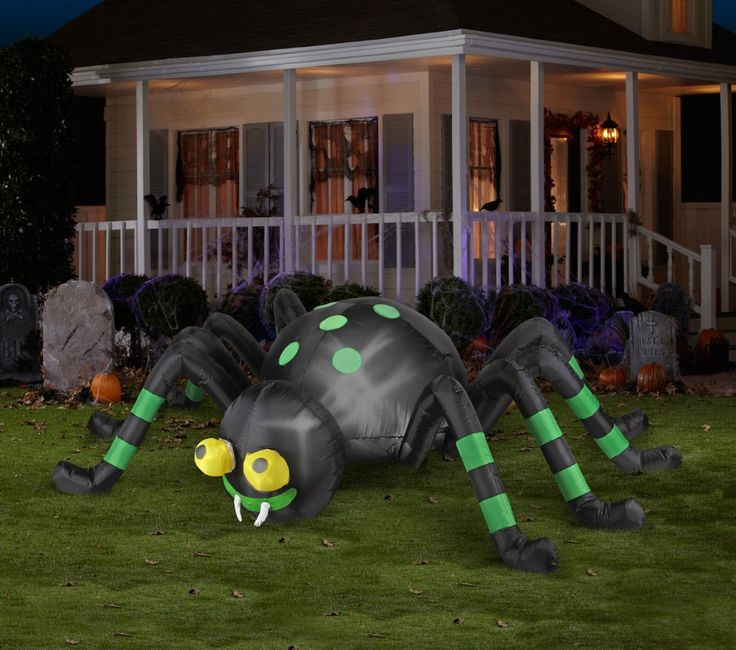 Cheap Inflatable Yard Decorations: Halloween Inflatable 8' Animated Spider With...
