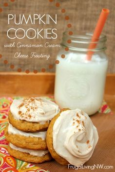 Pumpkin Cookieswith cinnamon cream cheese frosting. Pumpkin isn't just good in the Fall. Make this today and you'll love it! Delicious Fall Recipe!