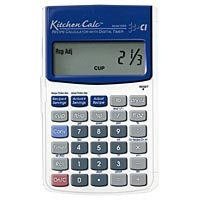 Kitchen Calc- Accurately increase or decrease recipe ingredients to the desired number of servings.  This tool converts all common food prep measurements: liquid, dry weight and volume in decimals, fractions and metric. (146 conversions incl. Centigrade to Farenheit, weight conversions in volume and dry units, built-in digital timer, recipe and portion size memory for preferred recipe and portion sizes, includes clear soft cover sleeve for storage and plastic snap on cover for protection)