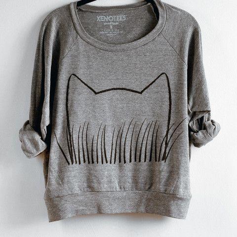 Women's Cat Grass Sweatshirt