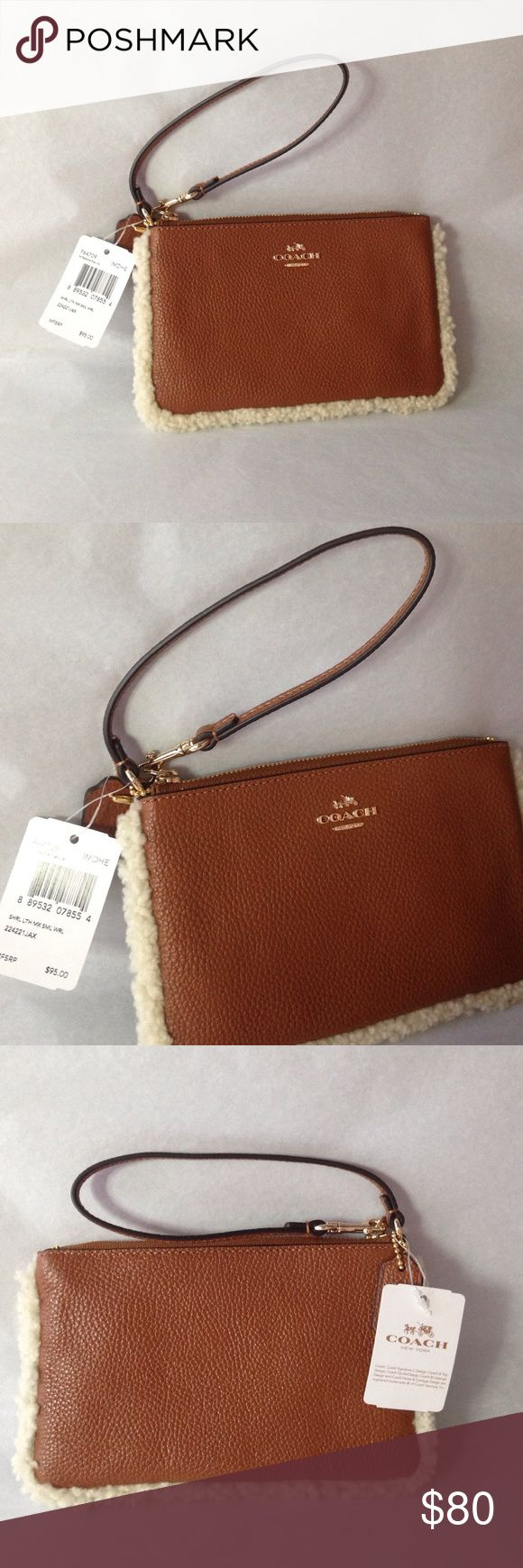 NWT Coach Pebbled Leather Wristlet Brand new with tags, saddle leather with shearling on all 3 sides. Coach Bags Clutches & Wristlets