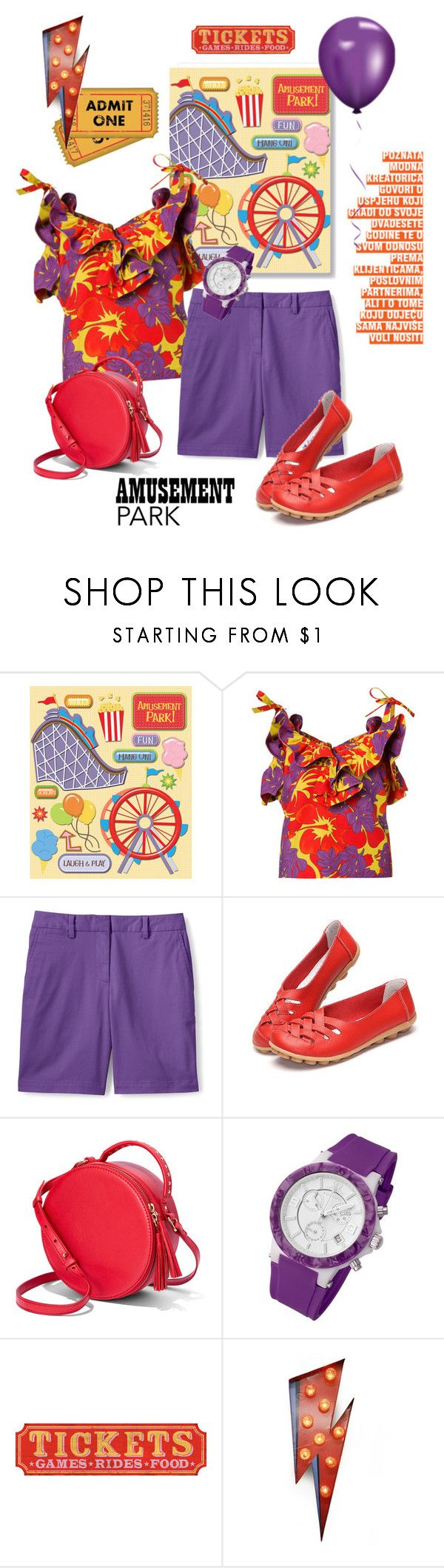 """""""Purple & Blood Orange"""" by metter1 ❤ liked on Polyvore featuring Rosie Assoulin, Lands' End, Rougois, Temerity Jones, amusementpark and 60secondstyle"""