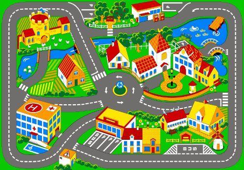 Associated Weavers – Alfombra infantil para jugar (95 x 133 cm), diseño de ciudad con carreteras   Hogarycocina.es