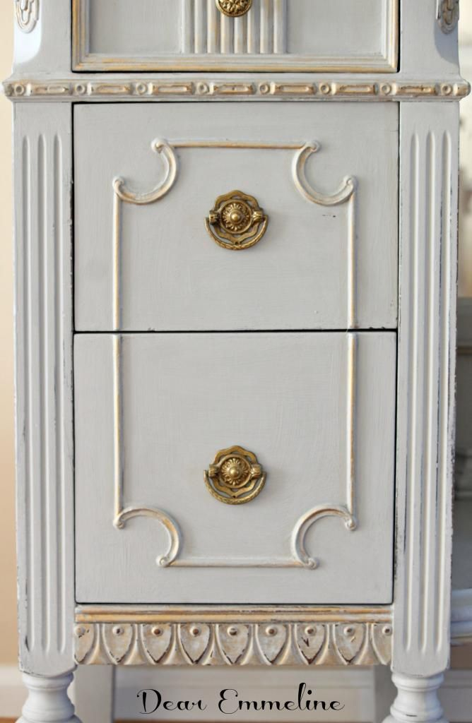 "...then rubbed with gold ""rub n' buff) over details.....Dear Emmeline: Bulk Trash Rescue {Paris Gray Vanity}"