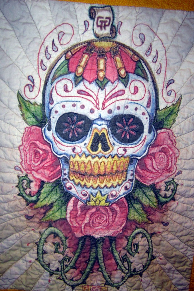 Day Of The Dead Sugar Skull Quilted Wall Hanging The