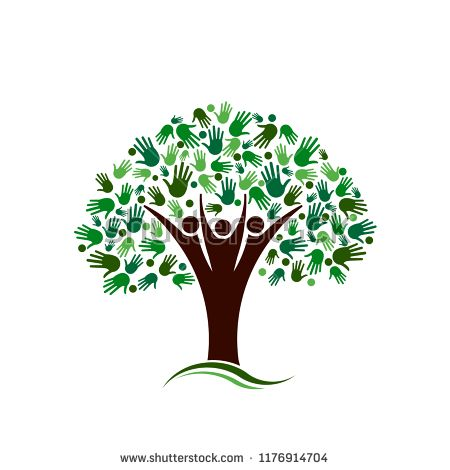Family Tree with Hands Network Vector logo #tree #hand #nature