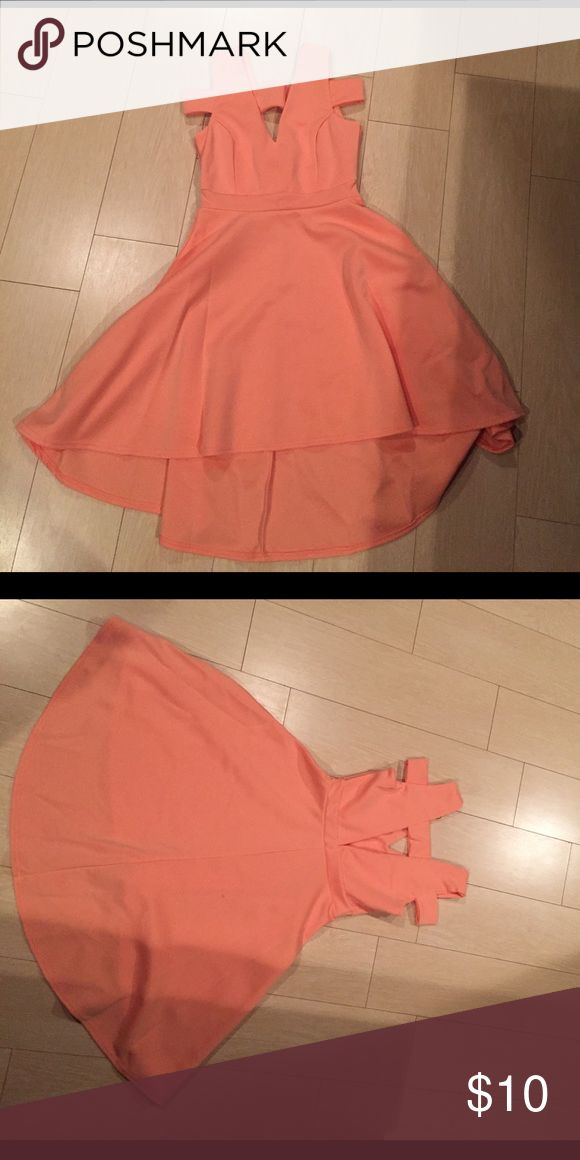 High-low bardot skater dress! Peach colored high-low plunge skater dress Boohoo Dresses High Low
