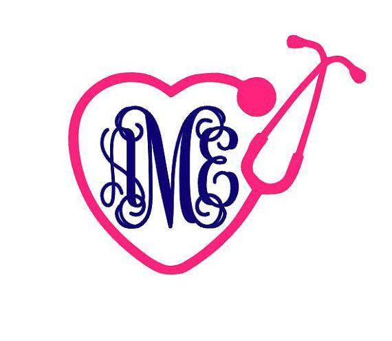 stethoscope heart monogram instant download cut file