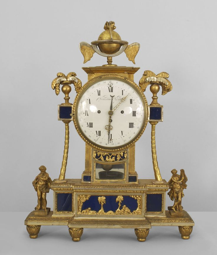 continental austrian 18th cent gilt wood and blue glass panel mantel clock with a - Mantel Der Ideen Mit Uhr Verziert