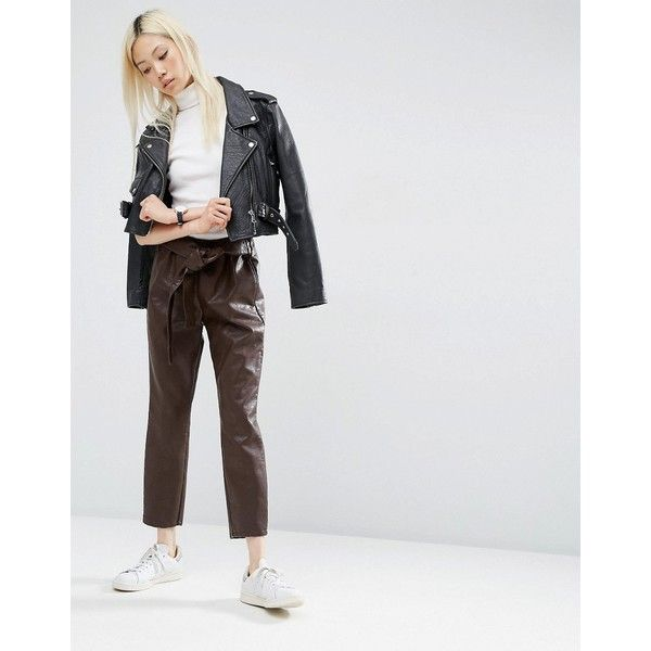 ASOS Premium Leather Look Peg Pants with OBI Tie ($19) ❤ liked on Polyvore featuring pants, capris, brown, high waisted tie pants, high-waist trousers, tall pants, high waisted faux leather pants and peg pants