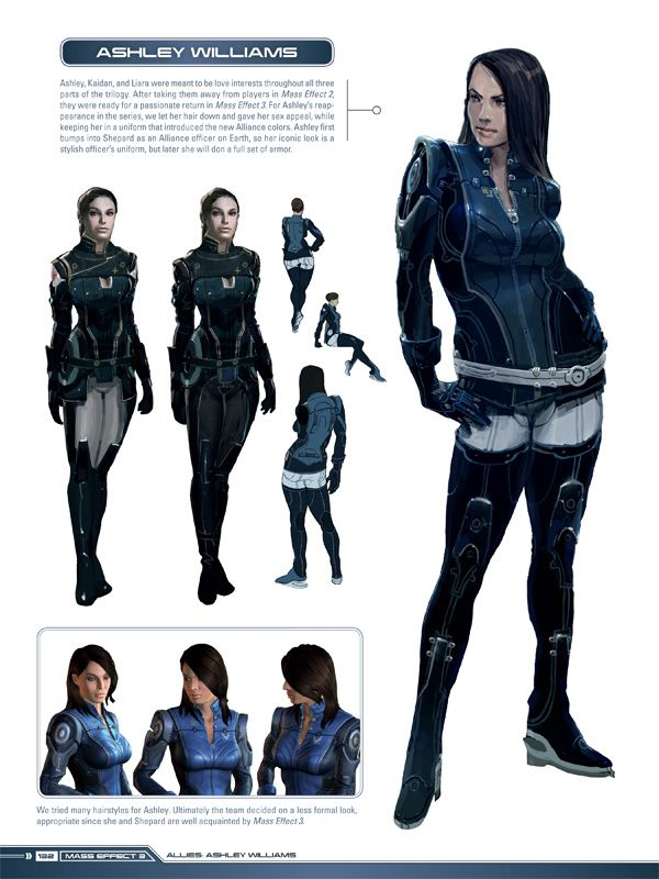 "Mass Effect Concept Art - Ashley Williams - I kinda wish they would have kept her hair up. I might have taken her more serious in the game if she hadn't gotten more ""sultry"""