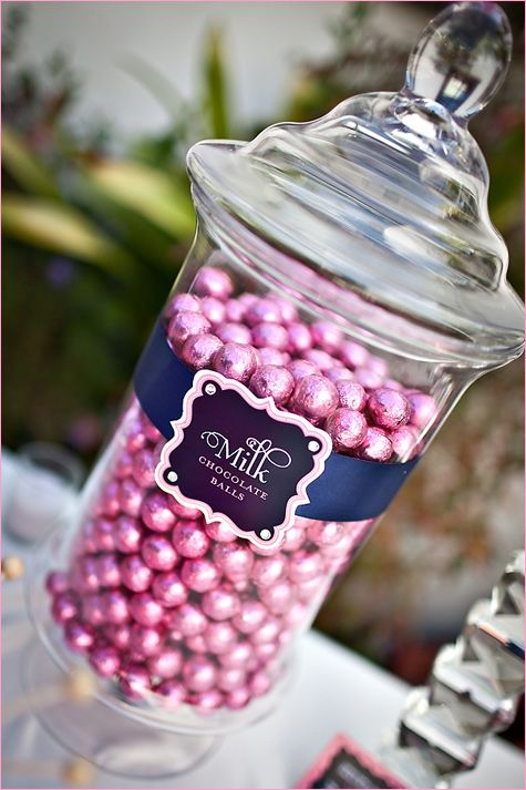 Sweet & Sparkly Wedding Candy Buffet - navy and pink theme