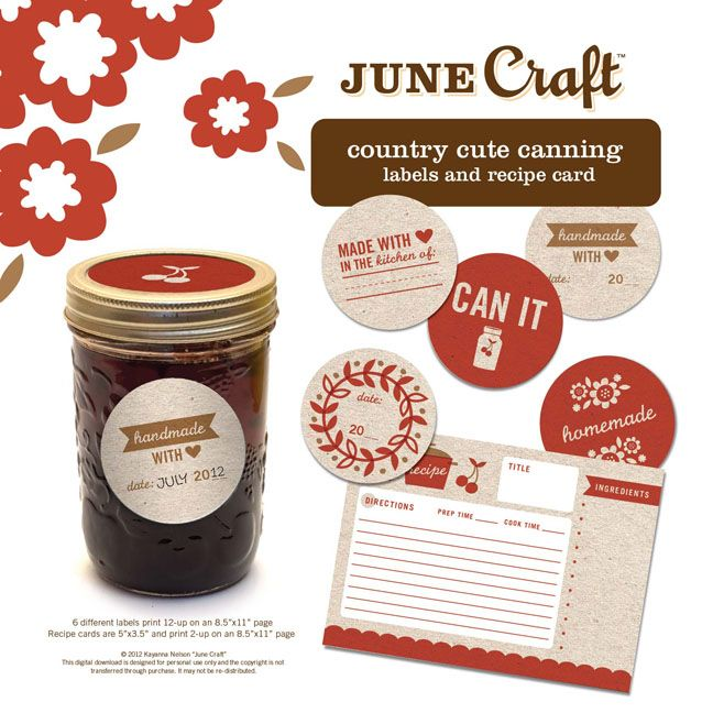 Country Cute Canning Labels and Recipe Card: Canning Labels, Printable, Recipes Cards, Recipe Cards, Jars Recipes Gifts, Recipes Books