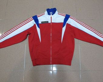 ADIDAS rojo de 1980 Descente Sport suéter chaqueta Cazadora hecho en Japón talla L nike no lee de la levis sherpa north face parka puma reebok