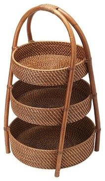 Rattan 3-Tier Basket - contemporary - Serveware - Other Metro - KOUBOO