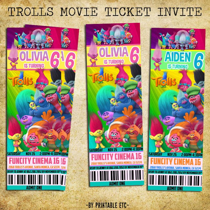 187 best Trolls Party images on Pinterest Troll party - movie ticket invitation template free printable