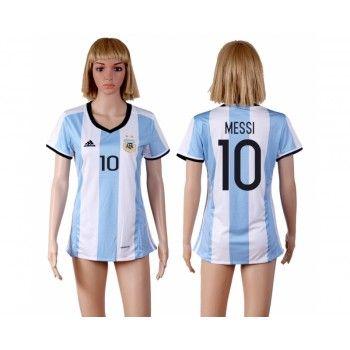 Argentina Fotbollskläder Kvinnor 2016 Lionel Messi 10 Hemmatröja Korta ärmar #Billiga Fotbollströjor