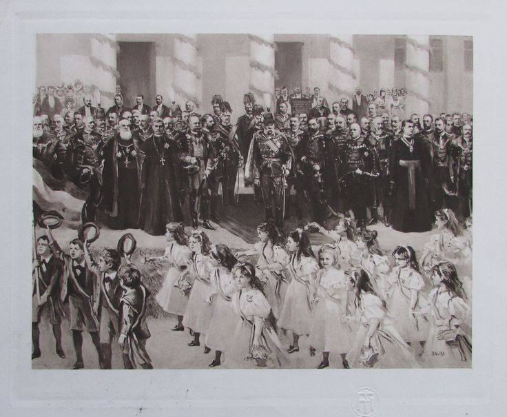 Huldigung der croatischen Jugend in Agram - Heliogravur aus 1908 Kunstblatt