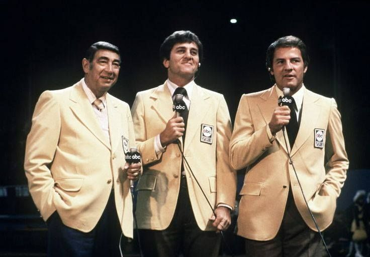 The Monday Night Football announcers: Howard Cossell, Don Meredith and Frank Gifford. [They were the BEST MNF announcers....ever!]