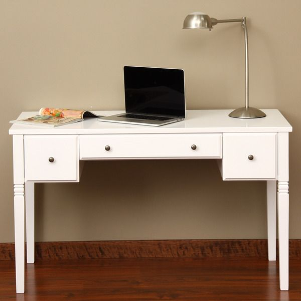 Cami White 3-drawer Writing Desk - Overstock™ Shopping - Great Deals on Desks