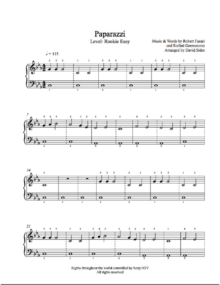 Paparazzi by Lady Gaga Piano Sheet Music | Rookie Level