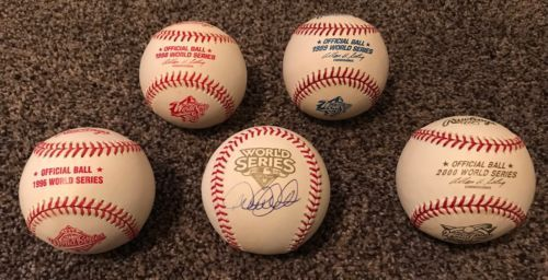 Derek Jeter Autographed 2009 World Series Rawlings Baseball Lot 1996-99 and 2000