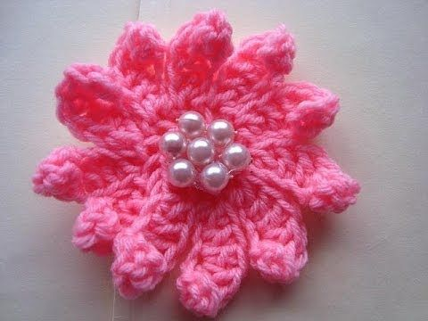 ▶ How to CROCHET FLOWER # 13, multi-petal flower, each petal made individually - YouTube