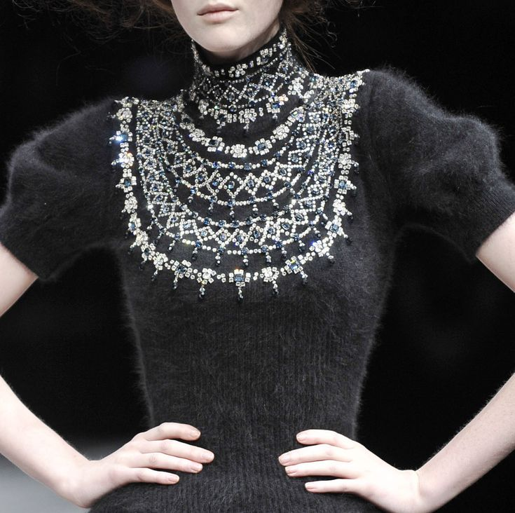 Alexander McQueen Knitted Angora Crop Sleeve Jumper with Jewelled Embellished…