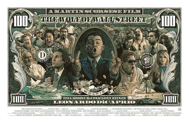 Private commission screen print poster inspired by 2013 biography and crime comedy 'The Wolf of Wall Street' directed by Martin Scorsese.