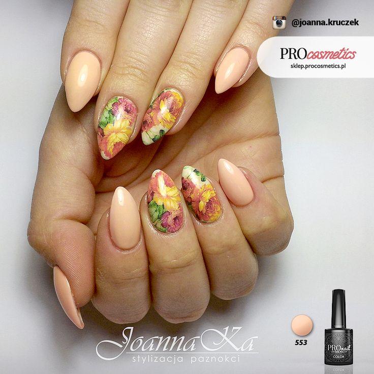 Pastelowe paznokcie brzoskwiniowe pomarańczowe zdobienie paznokci wzorki na paznokcie pronail 553 żelowe hybrydowe