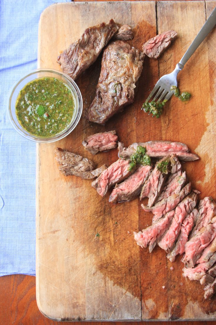 Steak with Chimichurri Sauce: Argentinian food | pan seared steak ...