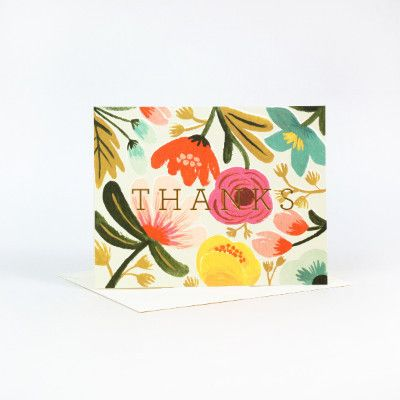 Rifle Paper Co Single Card - Gold Floral Thank You   Pony Lane