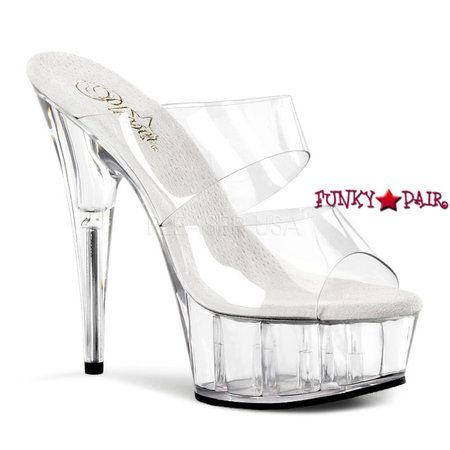 DELIGHT-602, 6 Inch High Heel with 1.75 Inch Platform Two-Band Sandal