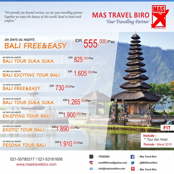 PROMO TOUR FIT #Bali !! Book and Buy Mas Travel Biro. Info: 021-55780317 / 021-53161608