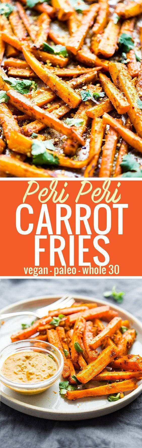 These Peri Peri oven baked carrot fries are gonna knock your socks off ya'll! The homemade Peri Peri Sauce is the key to making these carrot fries more flavorful.Just marinate slicecarrots in the sauce, bake, and enjoy! A paleo, vegan, and whole 30 frie