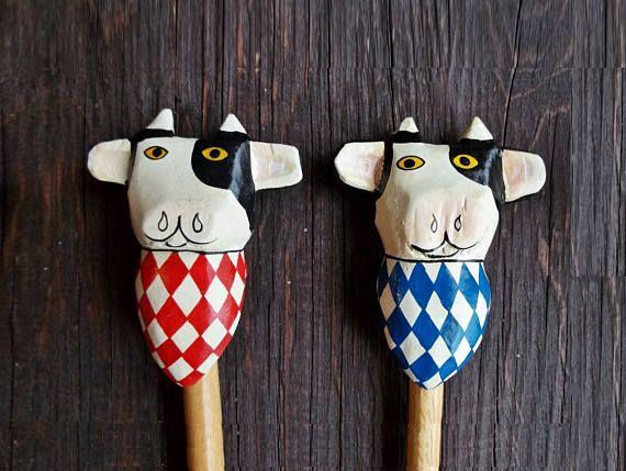 Vintage Wood Serving Utensils Decorative Handmade Spoon Fork Kitchen Cow Red Blue Rustic Farmhouse Decor Primitive Kitchenware Pair Utensil