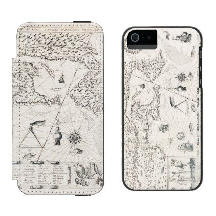 Medieval World map Quebec Nouvelle-France America iPhone SE/5/5s Wallet Case - diy cyo customize create your own #personalize