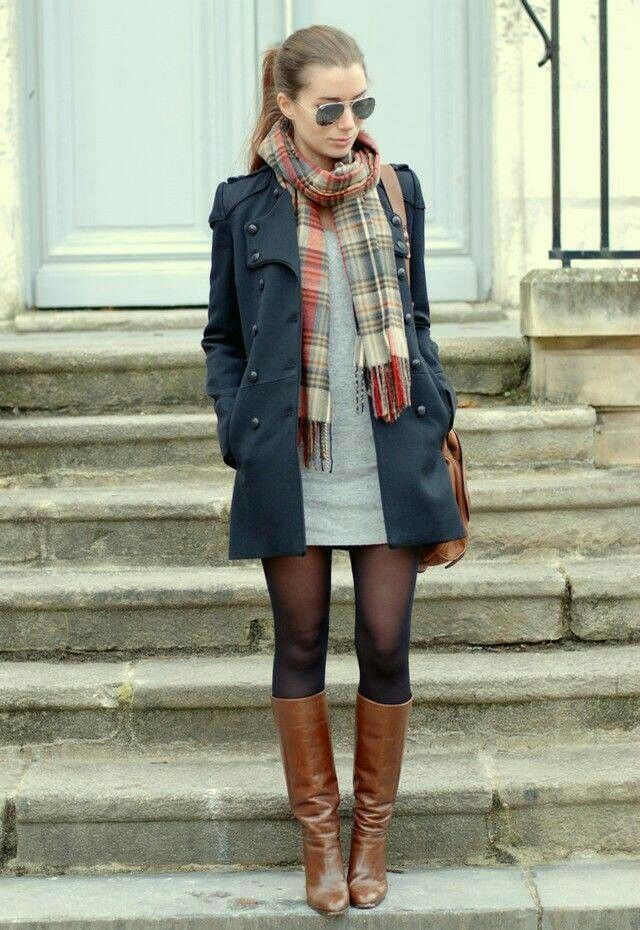Grey dress, plaid scarf, navy coat, sheer tights to blend different colors together, toffee brown boots — perfect fall outfit