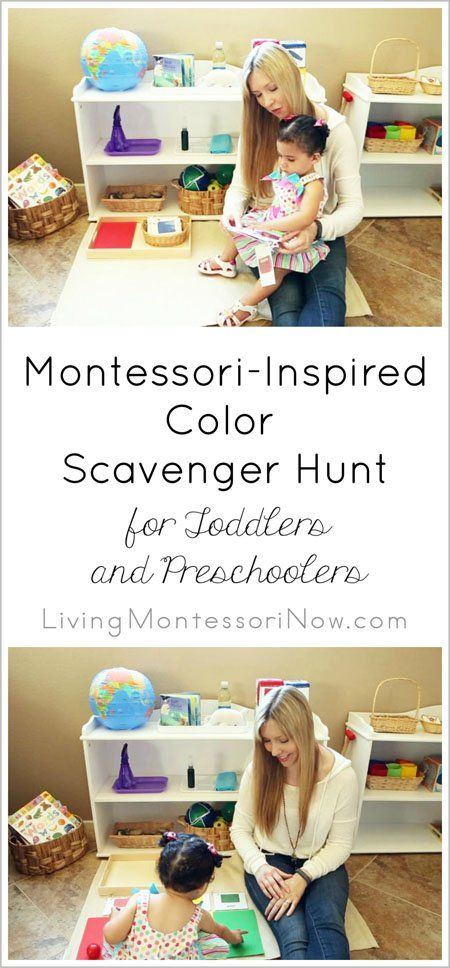 Resources and YouTube video with ideas for a Montessori-inspired color scavenger hunt for toddlers and preschoolers