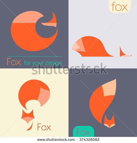 Set Fox icon - vector illustration. red fox logo