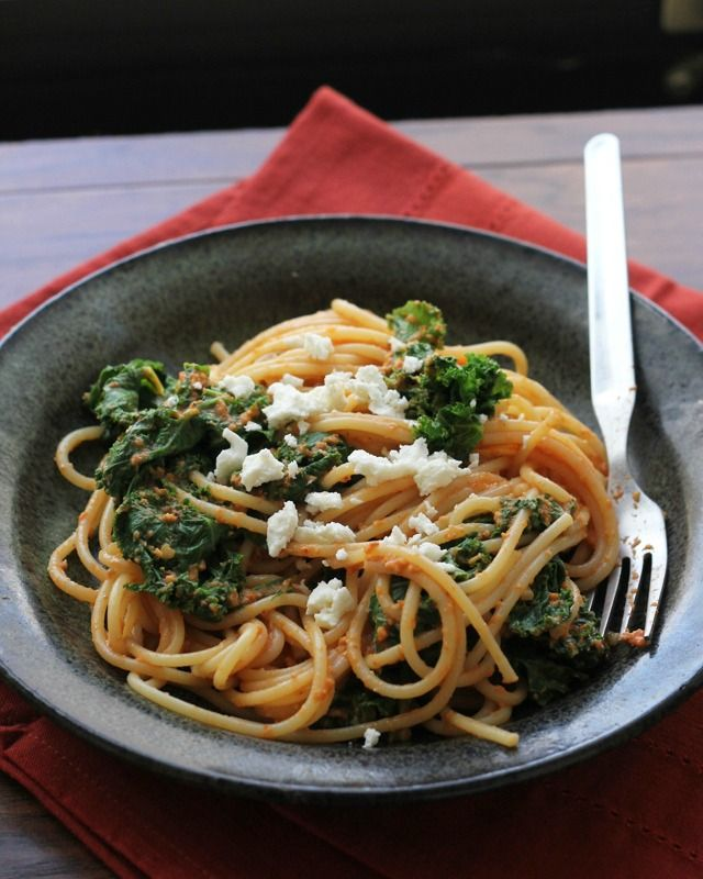 Roasted Red Pepper Pasta with Kale and Feta | Recipe