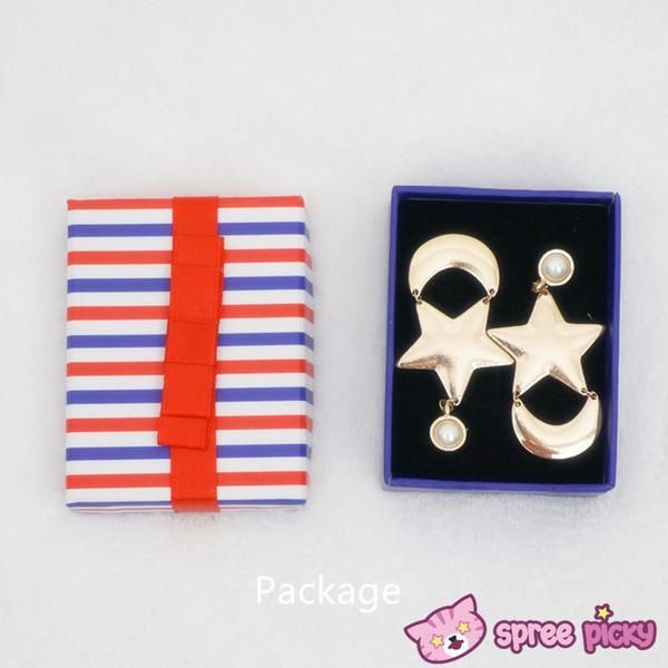 """Prices is for one pair of earrings.Material: made of metalColor: GoldenSize: Moon: 2CM/0.79"""" + Star:2.5CM/0.98""""In the name of Moon, You deserve them ^_^"""