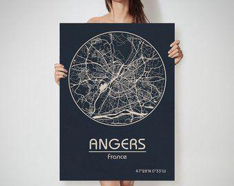 Carte de France ANGERS art Angers, Angers, impression, carte de Angers, Angers, Angers, France ...